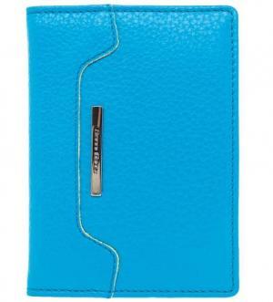 Кожаная обложка для паспорта с логотипом бренда Gianni Conti. Цвет: голубой