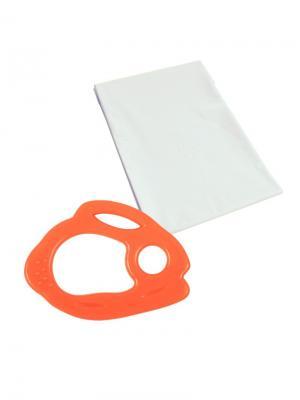 Прорезыватель силиконовый Зайчик 1 шт.(Силикон) 4+, Детская клеенка 50х70 см шт. (ПЭВА) 0+ ПОМА. Цвет: оранжевый