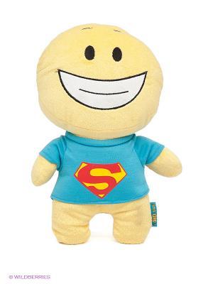 Мягкая игрушка Смайл СУПЕРМЕН MAXITOYS. Цвет: голубой, желтый