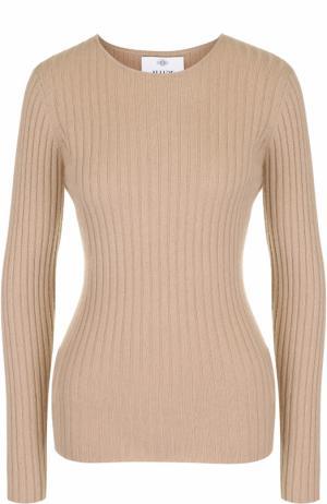 Кашемировый пуловер фактурной вязки Allude. Цвет: коричневый