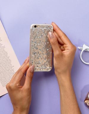 SIGNATURE Чехол для Iphone6 с блестящей отделкой. Цвет: серебряный