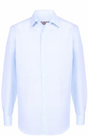 Сорочка из смеси хлопка и льна с итальянским воротником Canali. Цвет: голубой