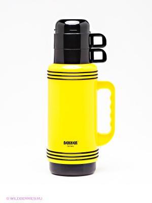 Термос Bekker. Цвет: голубой, желтый, черный