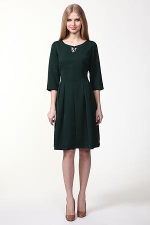 Платье с брошью Domena. Цвет: темно-зеленый