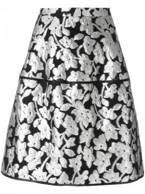 Юбка с цветочным узором металлик Oscar de la Renta. Цвет: чёрный