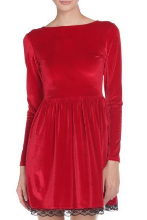 Платье с длинным рукавом вырезом-лодочка Irma Dressy. Цвет: красный