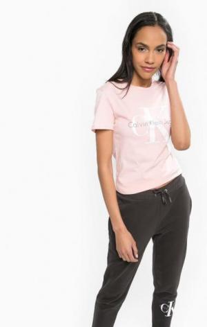 Розовая футболка из хлопка Calvin Klein Jeans. Цвет: розовый