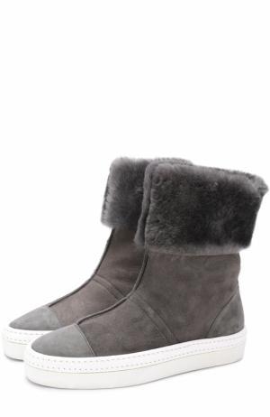 Замшевые ботинки Idea на контрастной подошве Walter Steiger. Цвет: серый