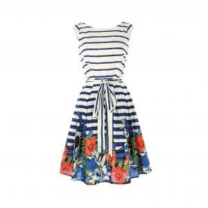 Платье в полоску из цветов без рукавов RENE DERHY. Цвет: в полоску белый/темно-синий