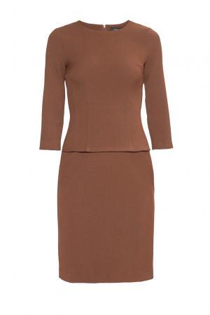 Платье из искусственного шелка с вискозой 178548 Cyrille Gassiline. Цвет: коричневый