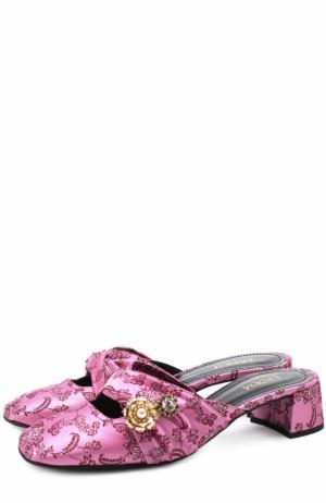 Текстильные сабо с вышивкой и  брошами Erdem. Цвет: розовый