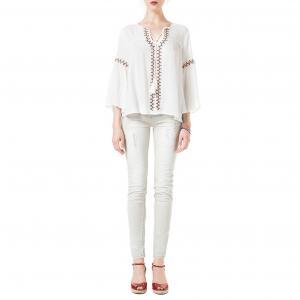 Блузка с вышивкой, расклешенные рукава BEST MOUNTAIN. Цвет: экрю