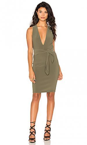 Платье с глубоким вырезом и завязкой montana BEC&BRIDGE. Цвет: зеленый