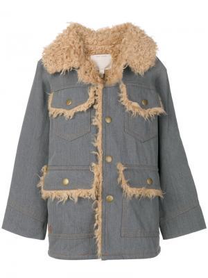 Oversized denim patch pocket coat Marc Jacobs. Цвет: синий