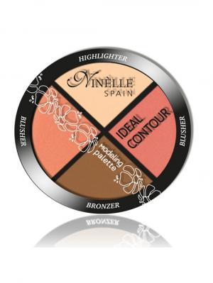 Палетка для моделирования лица Ideal Contour №38, Теплые оттенки Ninelle. Цвет: коричневый, бледно-розовый, коралловый