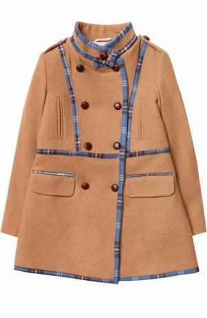 Шерстяное пальто с контрастной отделкой Oscar de la Renta. Цвет: бежевый
