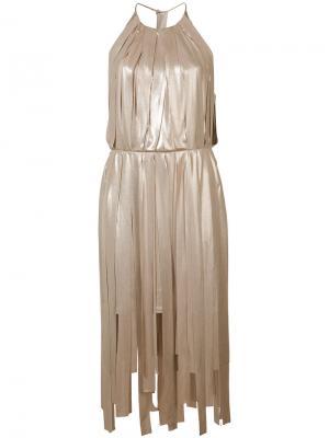 Плиссированное платье с полосками металлик Halston Heritage. Цвет: металлический
