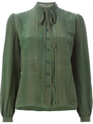 Рубашка с завязками на бант Jean Louis Scherrer Vintage. Цвет: зелёный