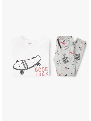 Пижамный комплект - SCRIBBLE Mango kids. Цвет: серый