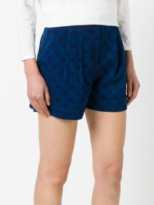 Джинсовые шорты с вышивкой звезд Chinti & Parker. Цвет: синий