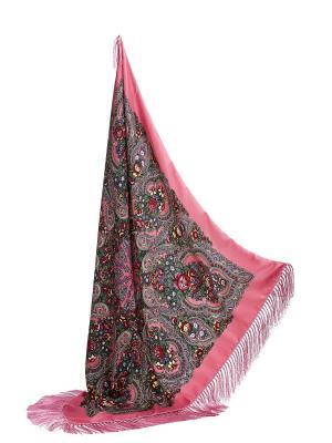 Платок с павлопосадским узором и длинной бахромой, 111 x cm Nothing but Love. Цвет: розовый, зеленый, красный
