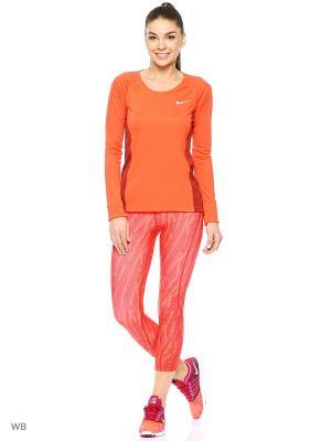 Лонгслив W NK DRY MILER TOP LS Nike. Цвет: оранжевый