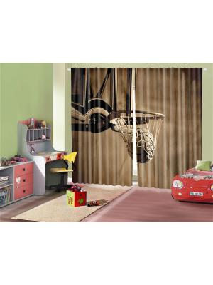 Плотные фотошторы Баскетбол, 290*265 см Magic Lady. Цвет: белый
