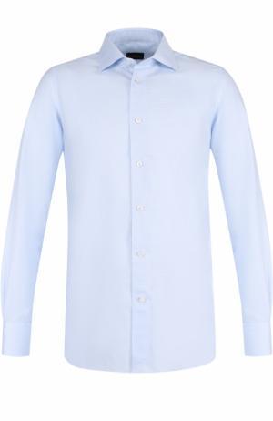 Хлопковая сорочка с воротником кент Ermenegildo Zegna. Цвет: голубой