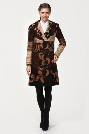 Пальто Yuko-Selena. Цвет: коричневый меланж