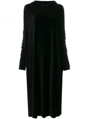 Бархатное платье-толстовка Barbara Bologna. Цвет: чёрный