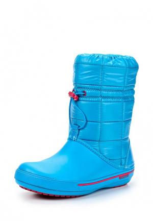 Дутики Crocs. Цвет: голубой