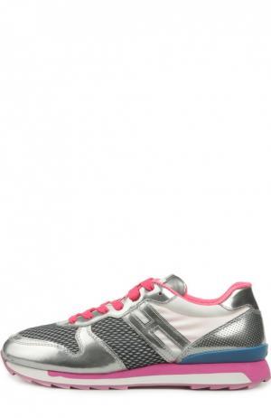 Кожаные кроссовки с сетчатыми вставками Hogan. Цвет: фуксия
