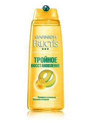 Шампунь Тройное восстановление, укрепляющий, для поврежденных и ослабленных волос, 250 мл Garnier. Цвет: светло-оранжевый