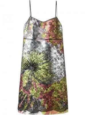 Платье шифт с кружевной вставкой Rochas. Цвет: многоцветный