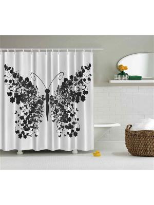 Фотоштора для ванной Чёрная бабочка, 180*200 см Magic Lady. Цвет: белый, черный