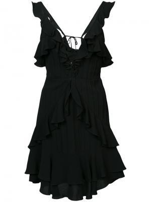V-neck ruffle dress For Love And Lemons. Цвет: чёрный
