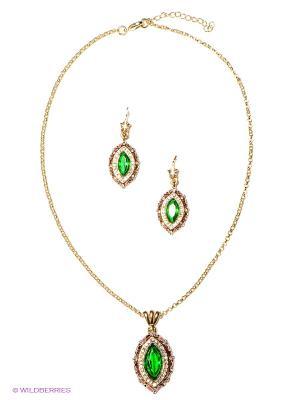 Комплект Lovely Jewelry. Цвет: золотистый, зеленый