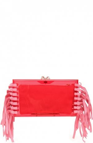 Клатч Fringe Pandora с замшевой бахромой и косметичкой Charlotte Olympia. Цвет: малиновый