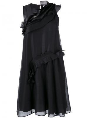 Мини-платье с рюшами Carven. Цвет: чёрный