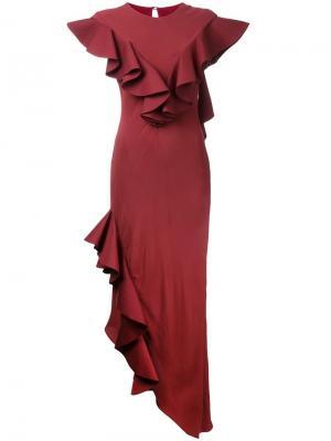 Вечернее платье с оборками Crepe Raven Bianca Spender. Цвет: красный