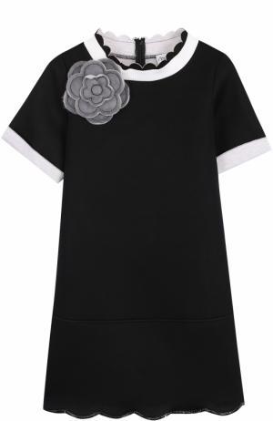 Мини-платье джерси с фигурной отделкой и брошью Simonetta. Цвет: черный