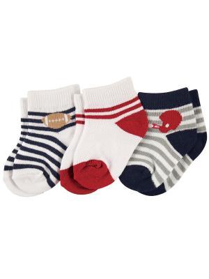 Носочки, 3 пары Luvable Friends. Цвет: красный,белый