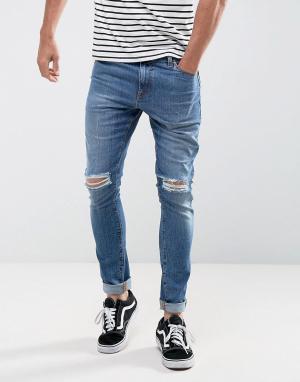 ASOS Синие выбеленные супероблегающие джинсы плотностью 12,5 унции с рваным. Цвет: синий