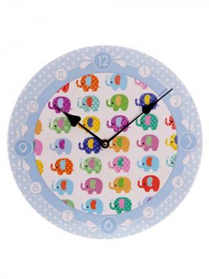 Часы настенные Cute Dotty Elephants Kawaii Factory. Цвет: светло-голубой, белый