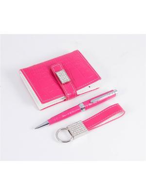 Подарочный набор: ручка, визитница, брелок Русские подарки. Цвет: красный