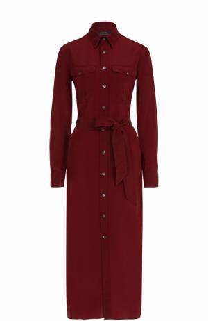 Шелковое платье-миди с поясом Polo Ralph Lauren. Цвет: бордовый