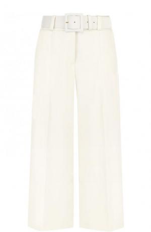 Укороченные шерстяные брюки с ремнем Oscar de la Renta. Цвет: молочный