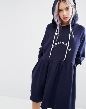 Lazy Oaf Платье с капюшоном Mondays. Цвет: темно-синий