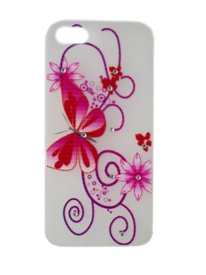 Чехол для iphone 5 белый с розовой бабочкой цветами и стразами JD.ZARZIS. Цвет: белый, розовый