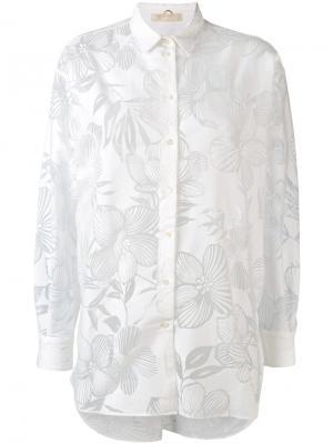 Полупрозрачная рубашка с цветочным узором Mantu. Цвет: белый